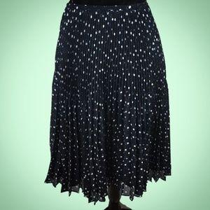 Talbots Petite Navy Blue Polka Dot Pleated Skirt 8